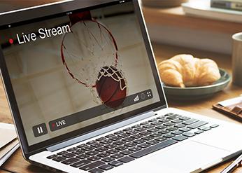 Livestream auf einem Laptop