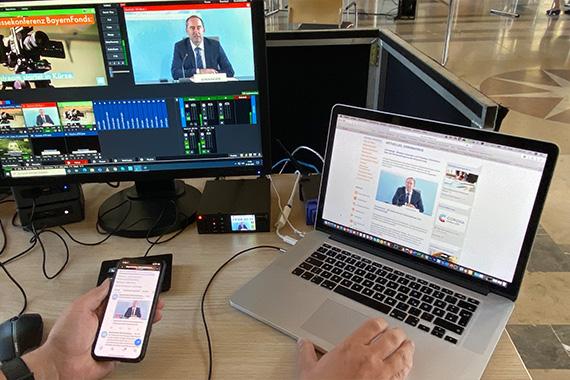 Arbeit hinter der Kamera im Bayerischen Wirtschaftsministerium