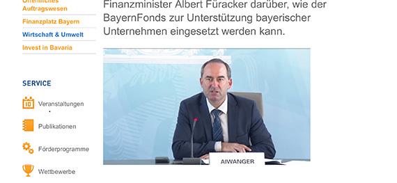 Player auf der Webseite des Wirtschaftsministeriums