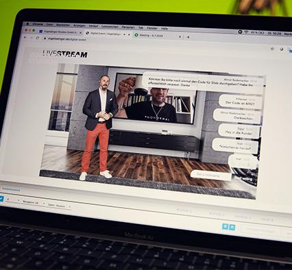 Virtuelles Hybrid Event mit virtuellem Studio